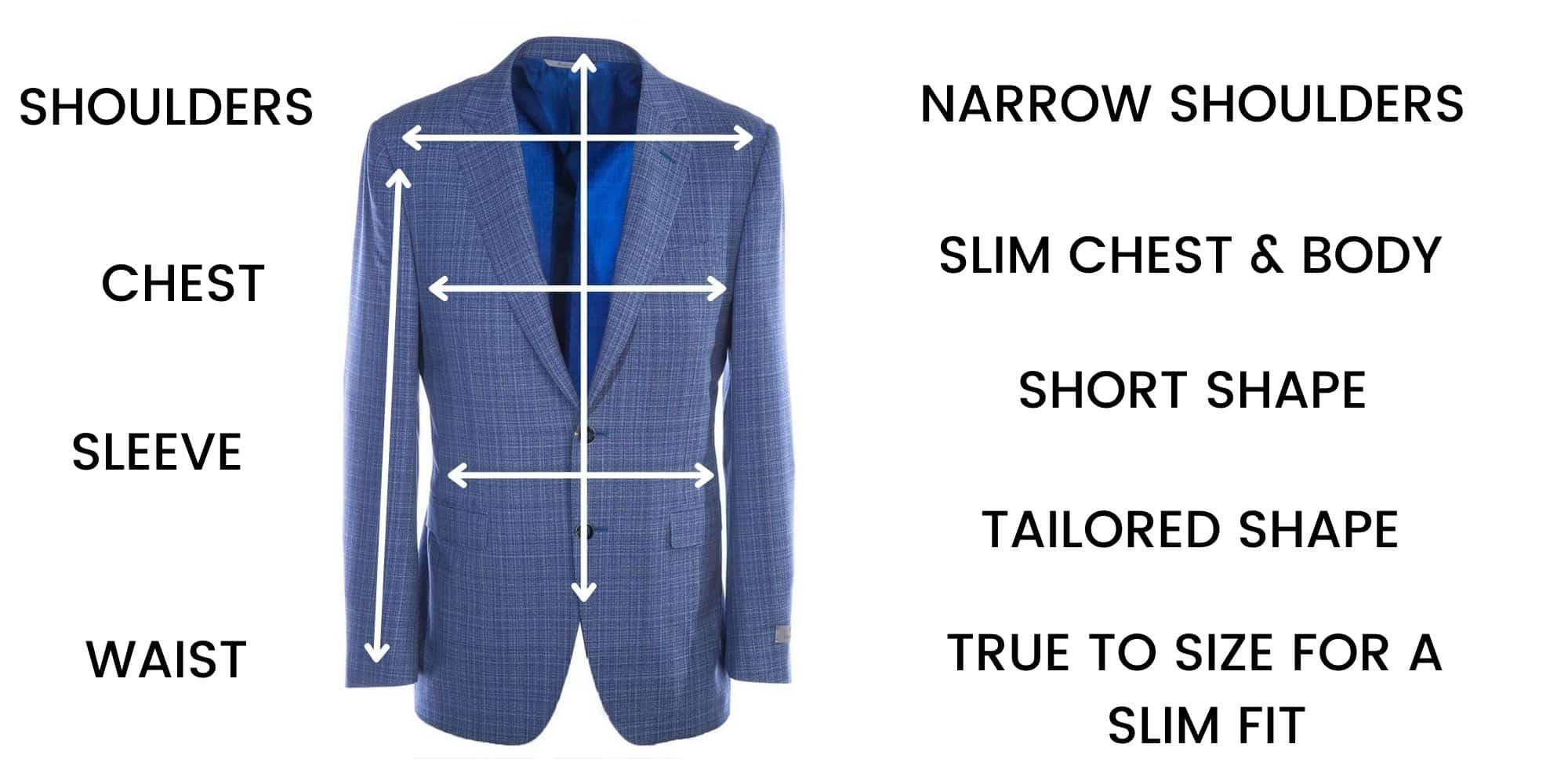 Canali Jackets Slim Fit – Size Chart
