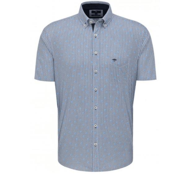 Fynch Hatton Button Down Short Sleeve Shirt blue Flowerprint