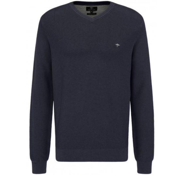 Fynch Hatton Casual Fit V Neck Sweater in Navy
