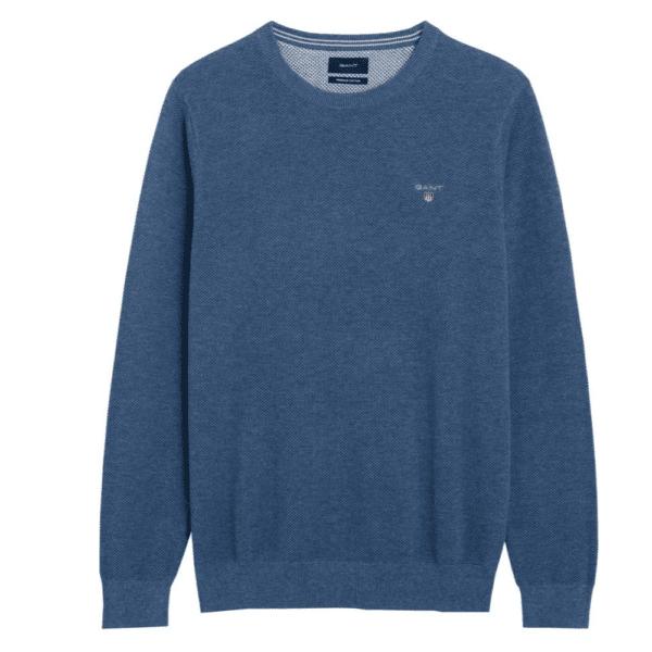 GANT Cotton Pique Crew Neck Sweater in mid blue front 1
