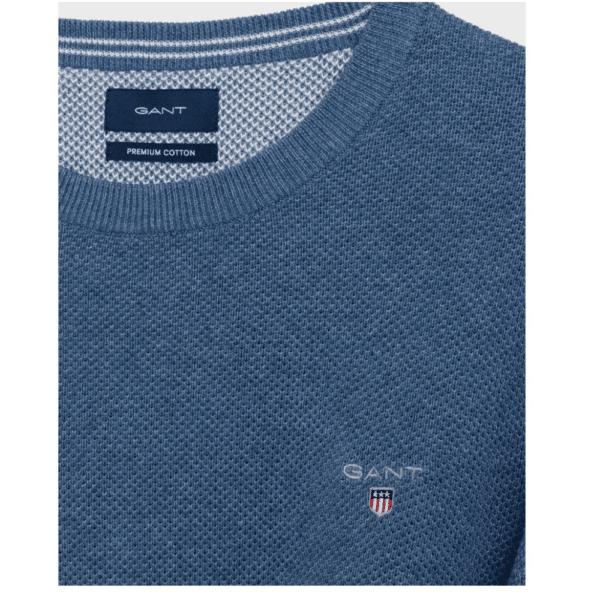 GANT Cotton Pique Crew Neck Sweater in mid blue top