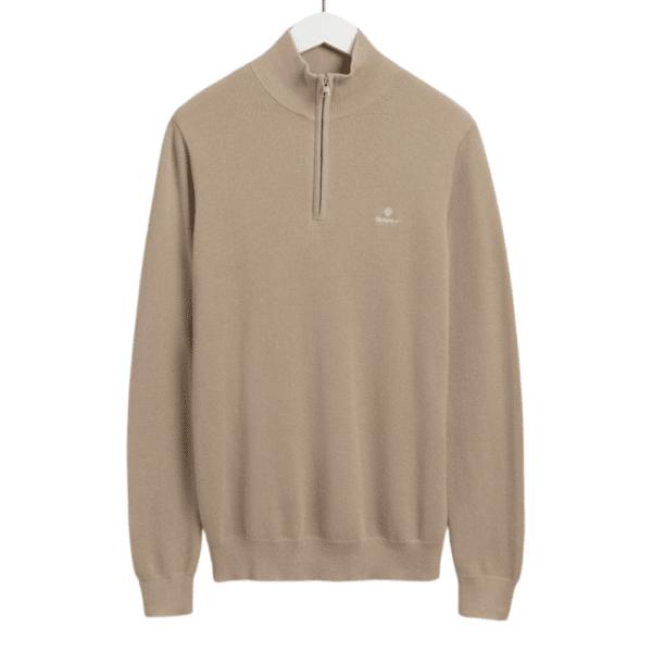 GANT Cotton Pique Half Zip Sweater in Dry Sand front