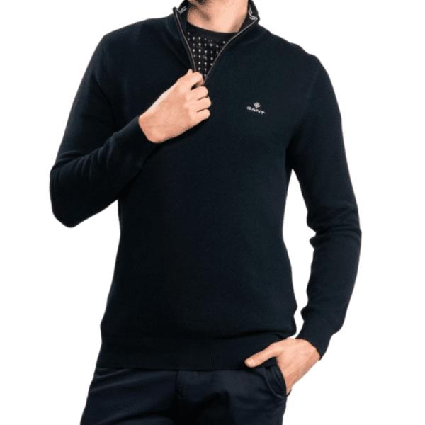 GANT Cotton Pique Half Zip Sweater in Navy