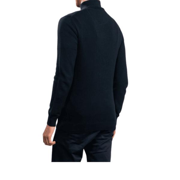GANT Cotton Pique Half Zip Sweater in Navy rear