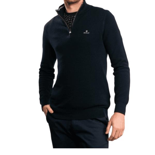 GANT Cotton Pique Half Zip Sweater in Navy side 1