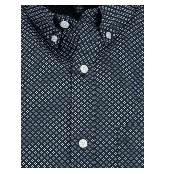 GANT Regular Fit Short Sleeve Micro Dot Shirt in Blue Collar