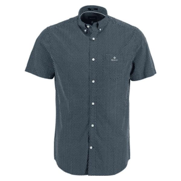 GANT Regular Fit Short Sleeve Micro Dot Shirt in Blue Front