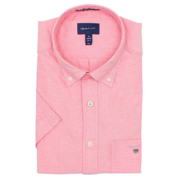 GANT Regular Fit Short Sleeve Oxford Shirt in Pink Front