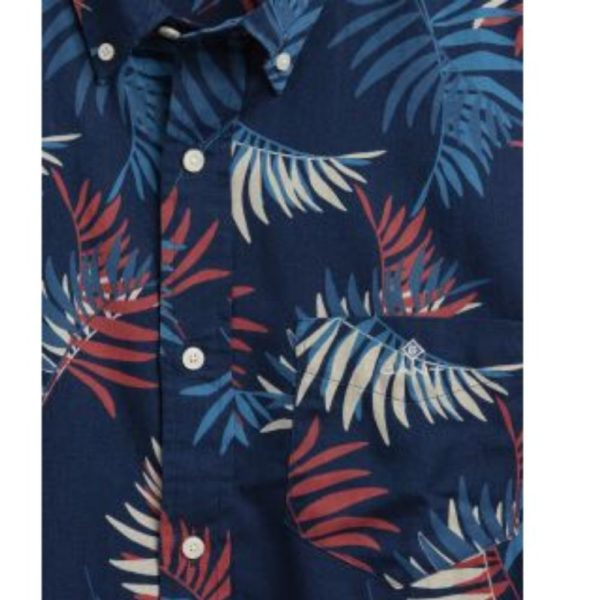 GANT regular fit surf palm print indigo shirt button