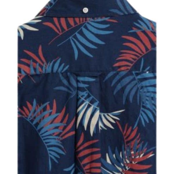GANT regular fit surf palm print indigo shirt rear
