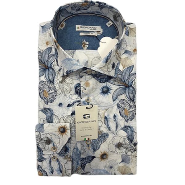 GIORDANO Giordano white flowers print shirt