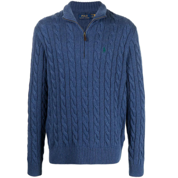 POLO RALPH LAUREN Cable Knit Half Zip Jumper in Blue front