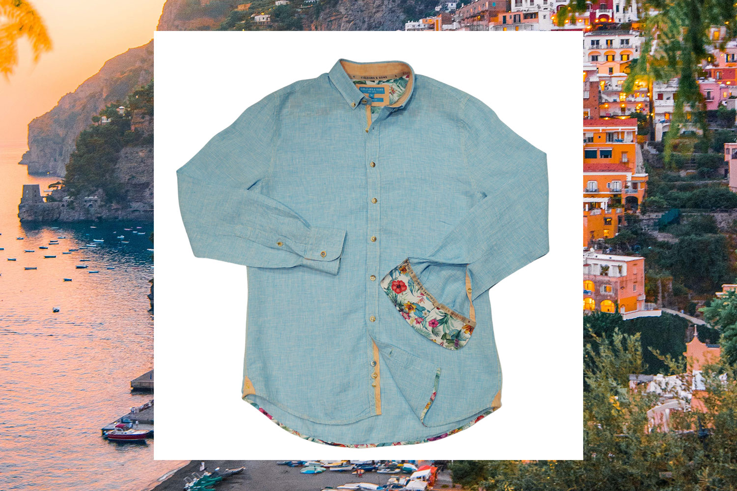 blue oxford linen shirt long sleeves colours and sons menswearonline