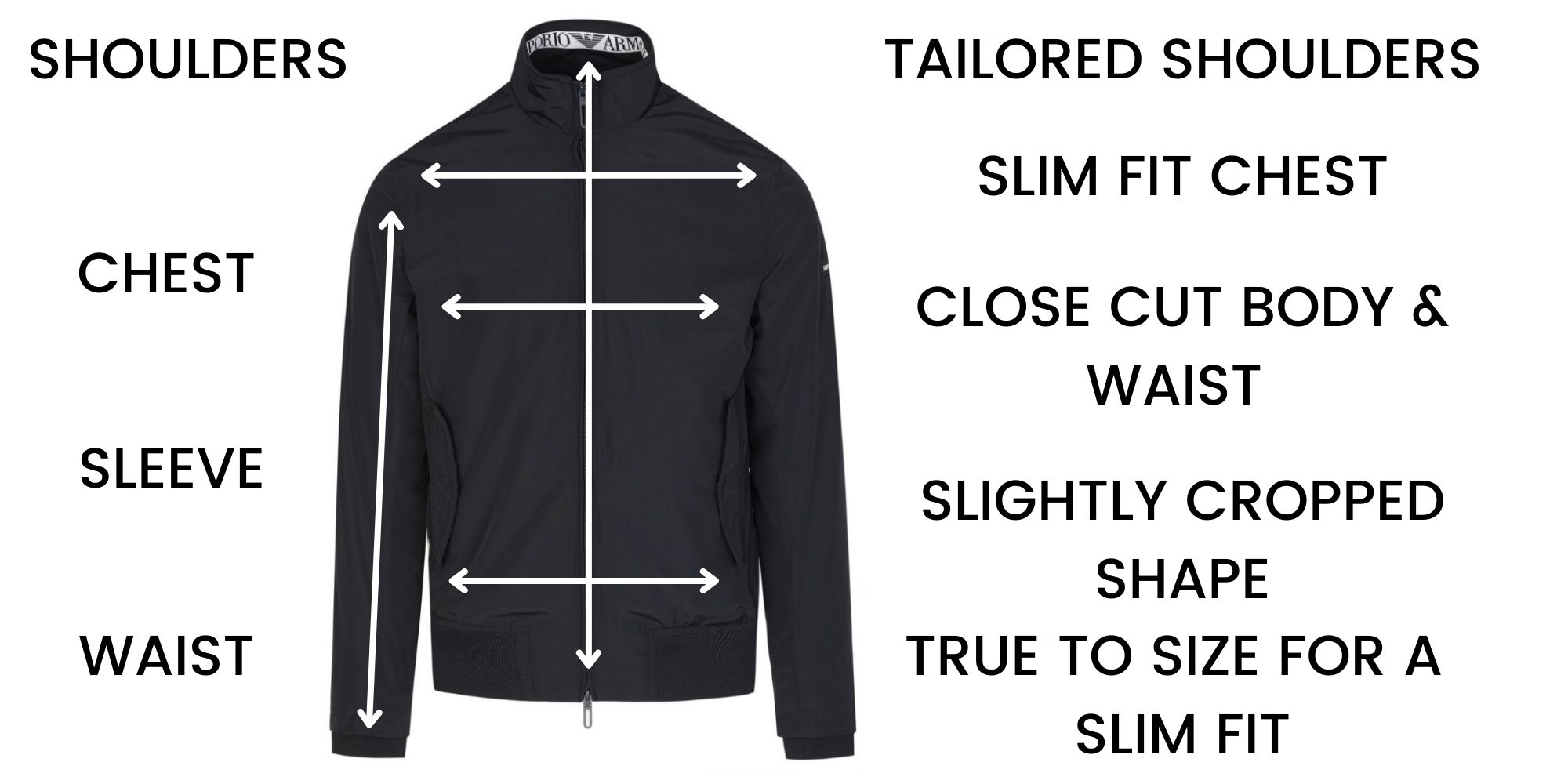 Emporio Armani Casual Jackets Size Chart