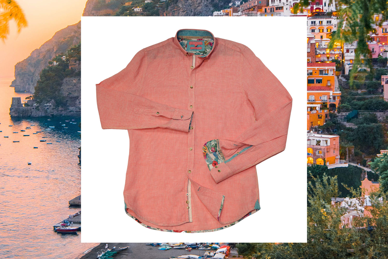 orange oxford linen shirt long sleeves colours and sons menswearonline