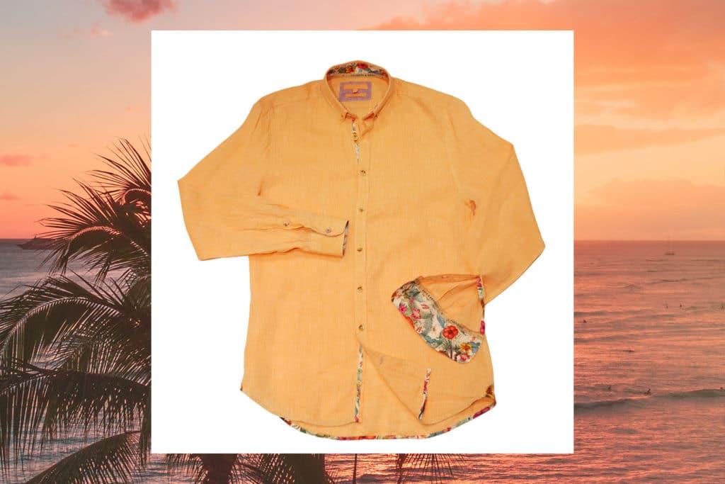 orange shirt COLOURS SONS LINEN SHIRT COLORBLOCK