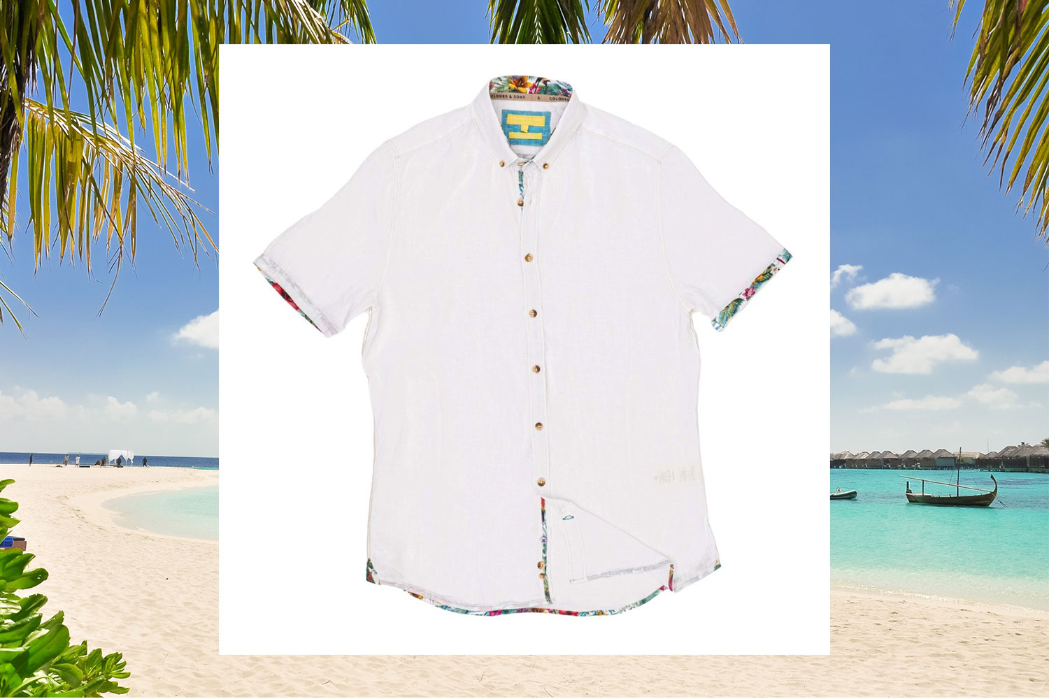 white oxford linen shirt long sleeves colours and sons menswearonline