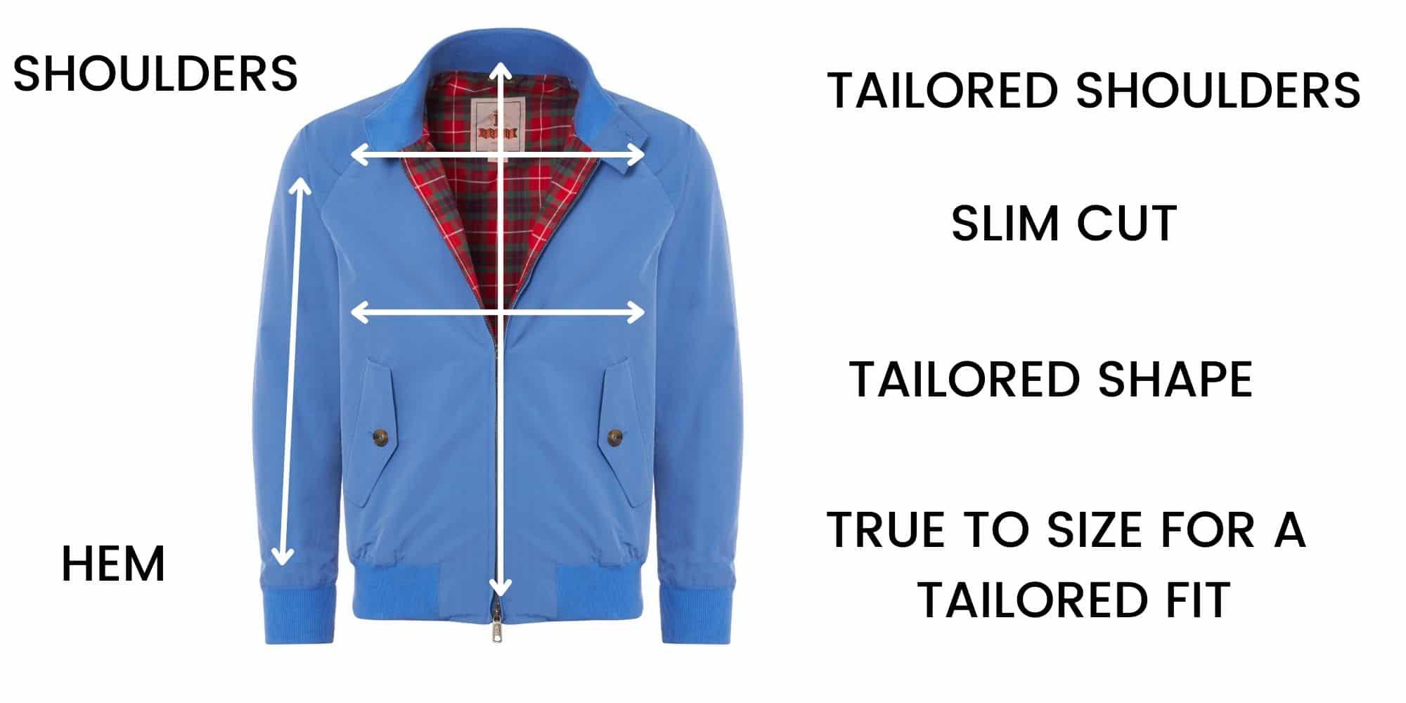 Baracuta Casual Jackets Size Guide