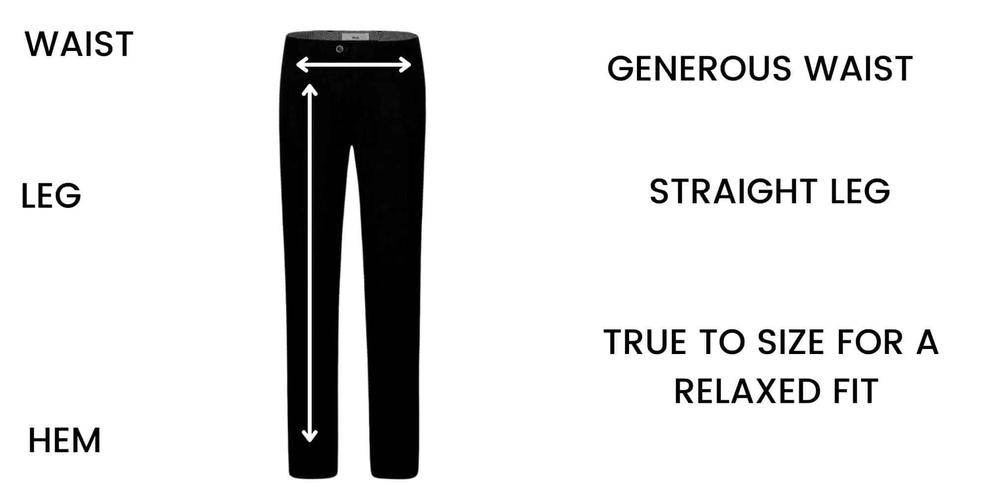 Brax trousers Size Chart