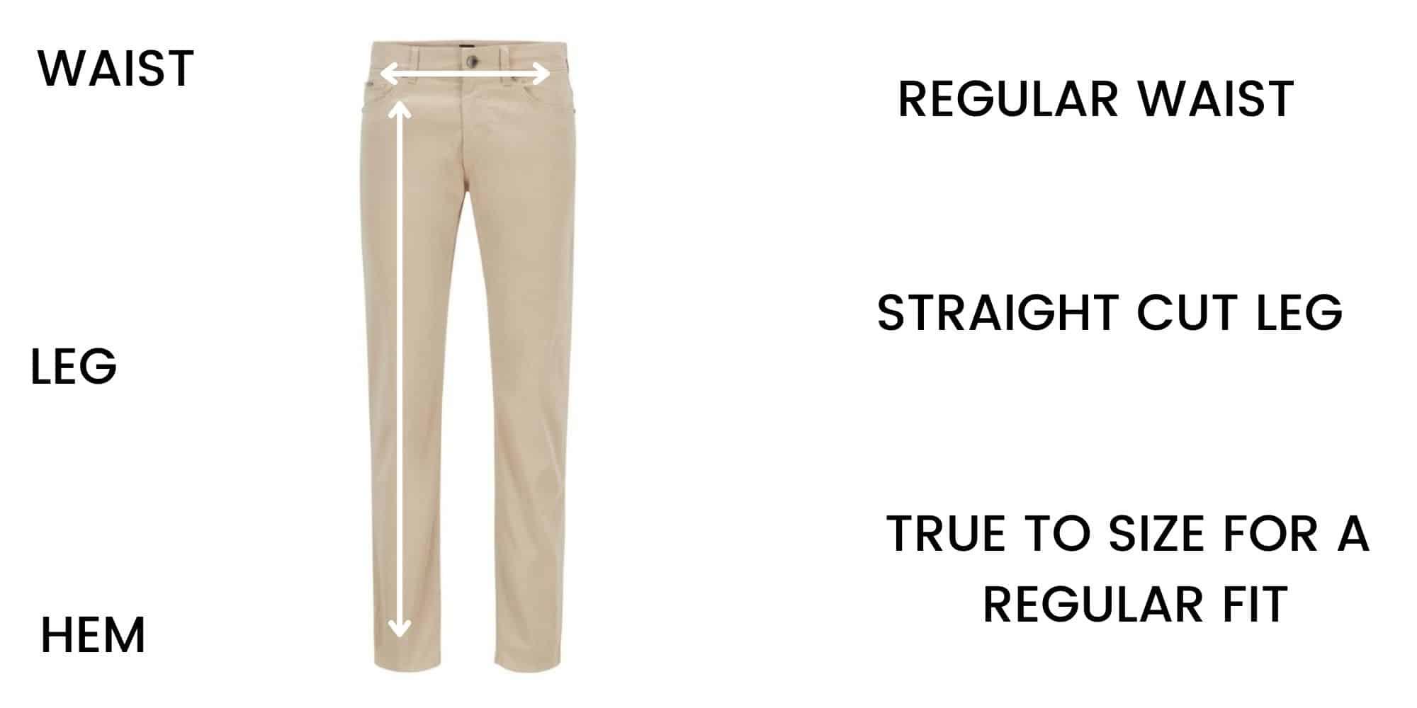 Boss Jeans Regular Fit Size Chart