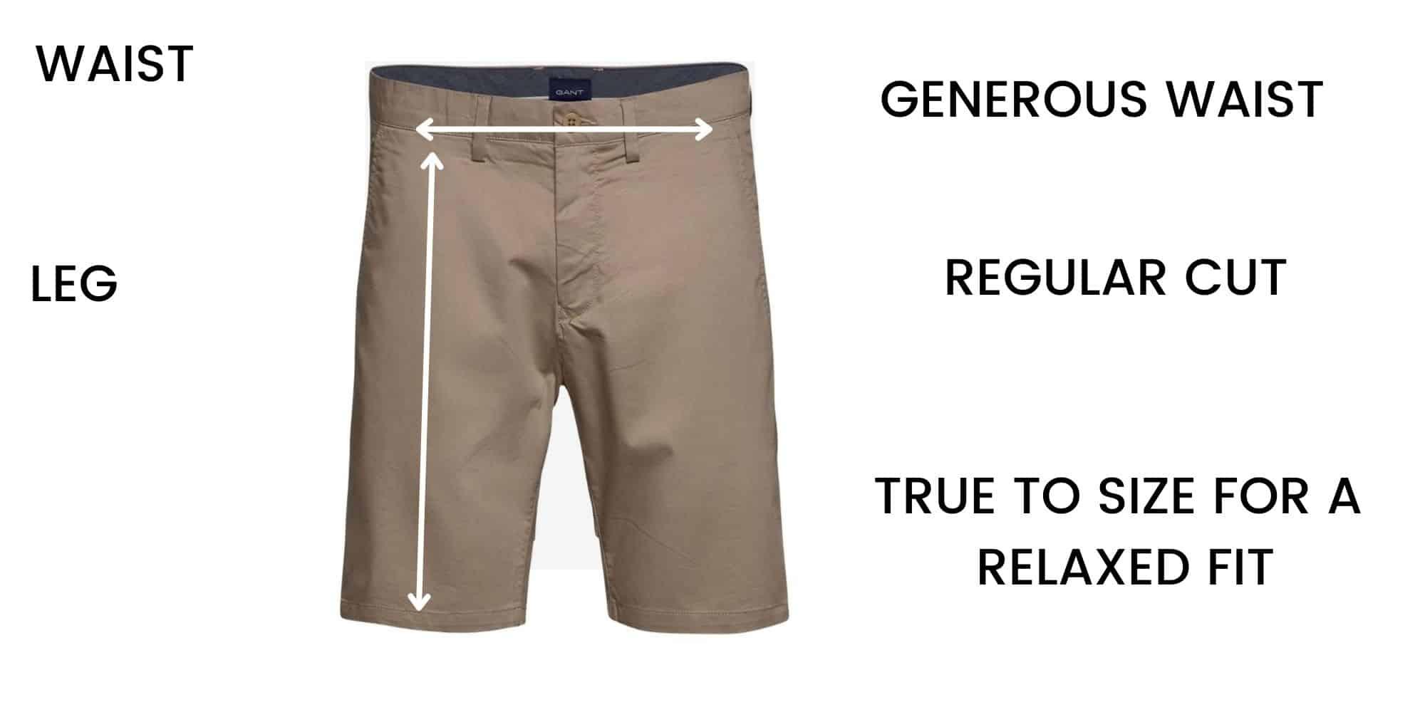 GANT shorts Size Chart