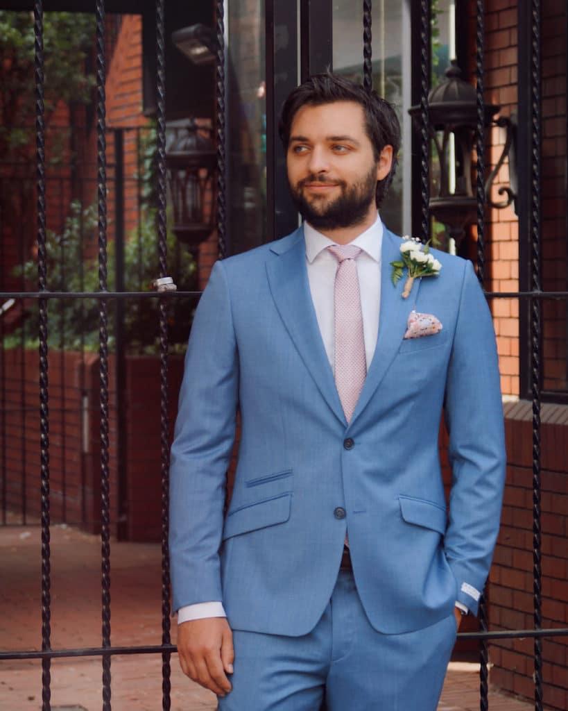 Tom Without Prejudice wedding suit light blue