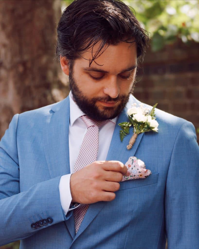 Tom in light blue without prejudice wedding suit